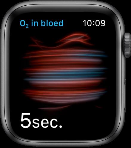 Het scherm 'Saturatie' tijdens een meting, waarbij er vanaf5 wordt afgeteld.