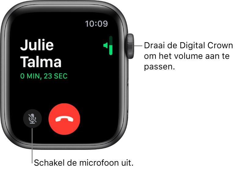 Tijdens een inkomend gesprek zie je de horizontale volume-indicator rechtsboven in het scherm, de knop om het geluid uit te schakelen linksonderin, en de rode weigerknop. Onder de naam van de beller staat de duur van het gesprek.