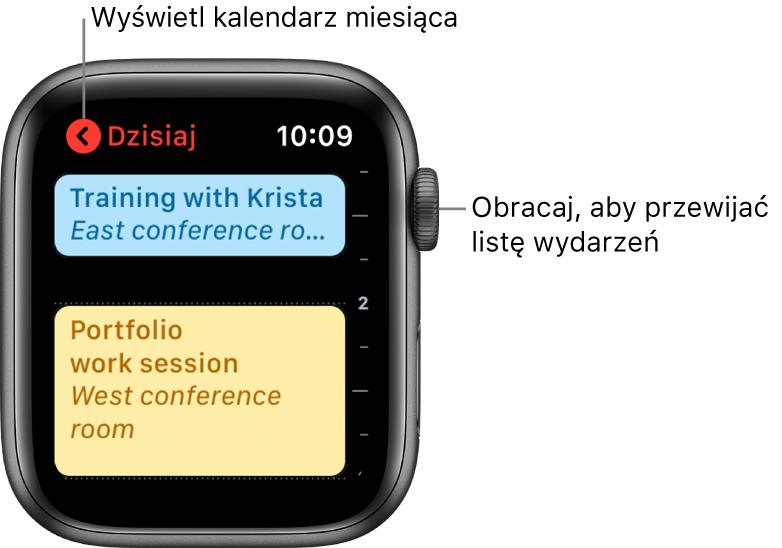 Ekran Kalendarza przedstawiający listę wydarzeń zokreślonego dnia.