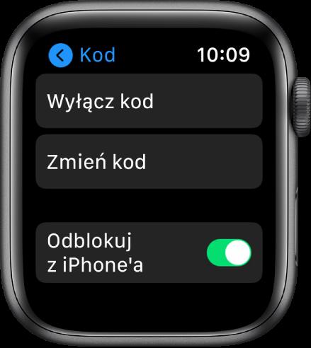 Ustawienia kodu na AppleWatch. Na górze widoczny jest przycisk Wyłącz kod, poniżej znajduje się przycisk Zmień kod, ana dole widoczny jest przycisk Odblokuj ziPhone'a.
