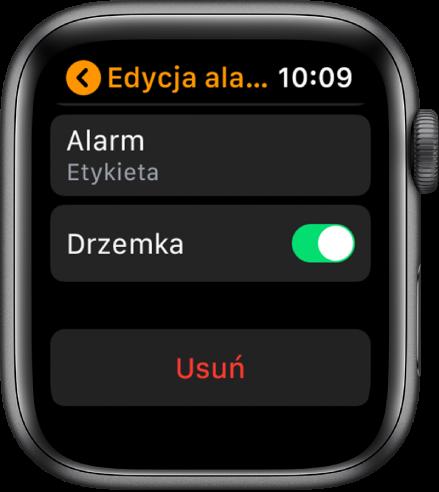 Ekran edycji alarmu ze znajdującym się na dole przyciskiem Usuń.