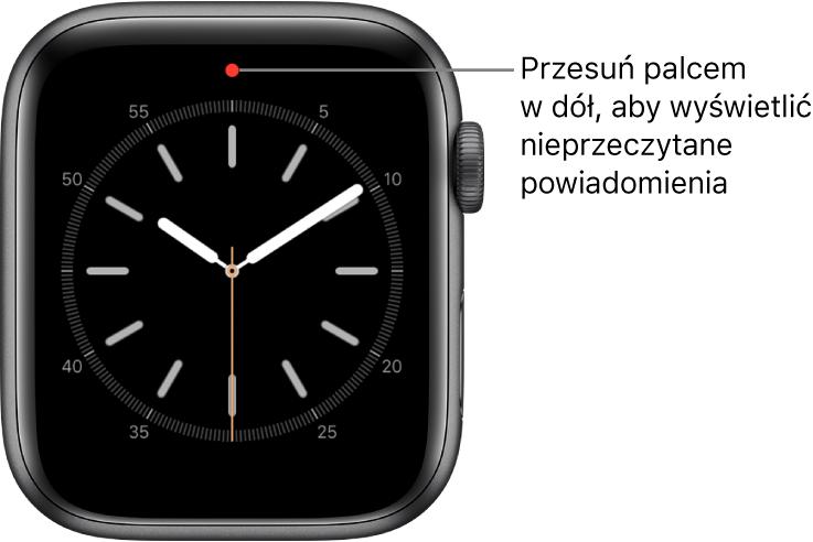 Gdy masz nieprzeczytane powiadomienie, na górze tarczy zegarka pojawia się czerwona kropka.