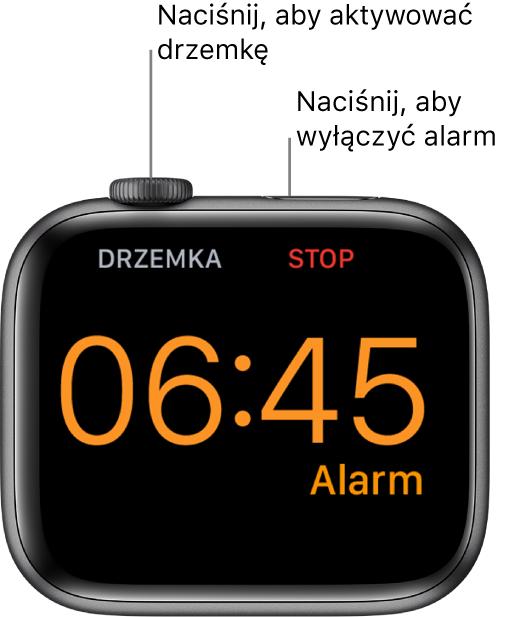 """AppleWatch ustawiony na boku. Jego ekran wyświetla włączony alarm. Poniżej Digital Crown znajduje się etykieta """"drzemka"""". Poniżej przycisku bocznego widoczna jest etykieta """"stop""""."""