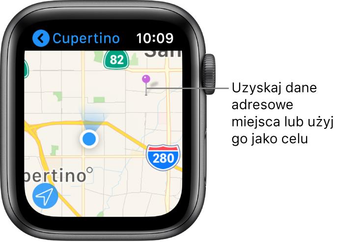 Aplikacja Mapy wyświetlająca mapę zfioletową pinezką, której można użyć wcelu uzyskania przybliżonego adresu danego miejsca, atakże jako punktu docelowego trasy.