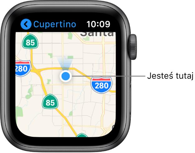 Aplikacja Mapy wyświetlająca mapę. Twoje położenie wyświetlane jest na mapie jako niebieska kropka. Niebieski wachlarzyk nad tą kropką wskazuje, że zegarek jest skierowany na północ.
