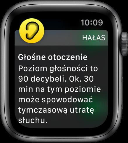 AppleWatch wyświetlający powiadomienie dotyczące poziomu hałasu. Ikona aplikacji powiązanej zpowiadomieniem pojawia się wlewym górnym rogu. Możesz wnią stuknąć, aby otworzyć daną aplikację.