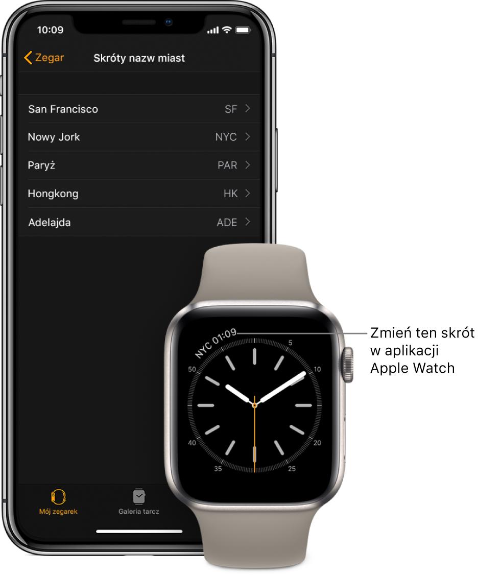 iPhone oraz Apple Watch. AppleWatch wyświetla godzinę wNowym Jorku, oznaczonym skrótem NYC. Na ekranie iPhone'a widoczna jest lista miast pod etykietą Skróty nazw miast, znajdującą się wustawieniach zegara waplikacji AppleWatch.