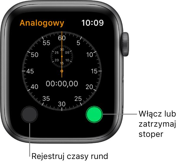 Ekran stopera analogowego. Stuknij wprawy przycisk, aby włączyć lub zatrzymać stoper. Stuknij wlewy przycisk, aby rejestrować czas rund.