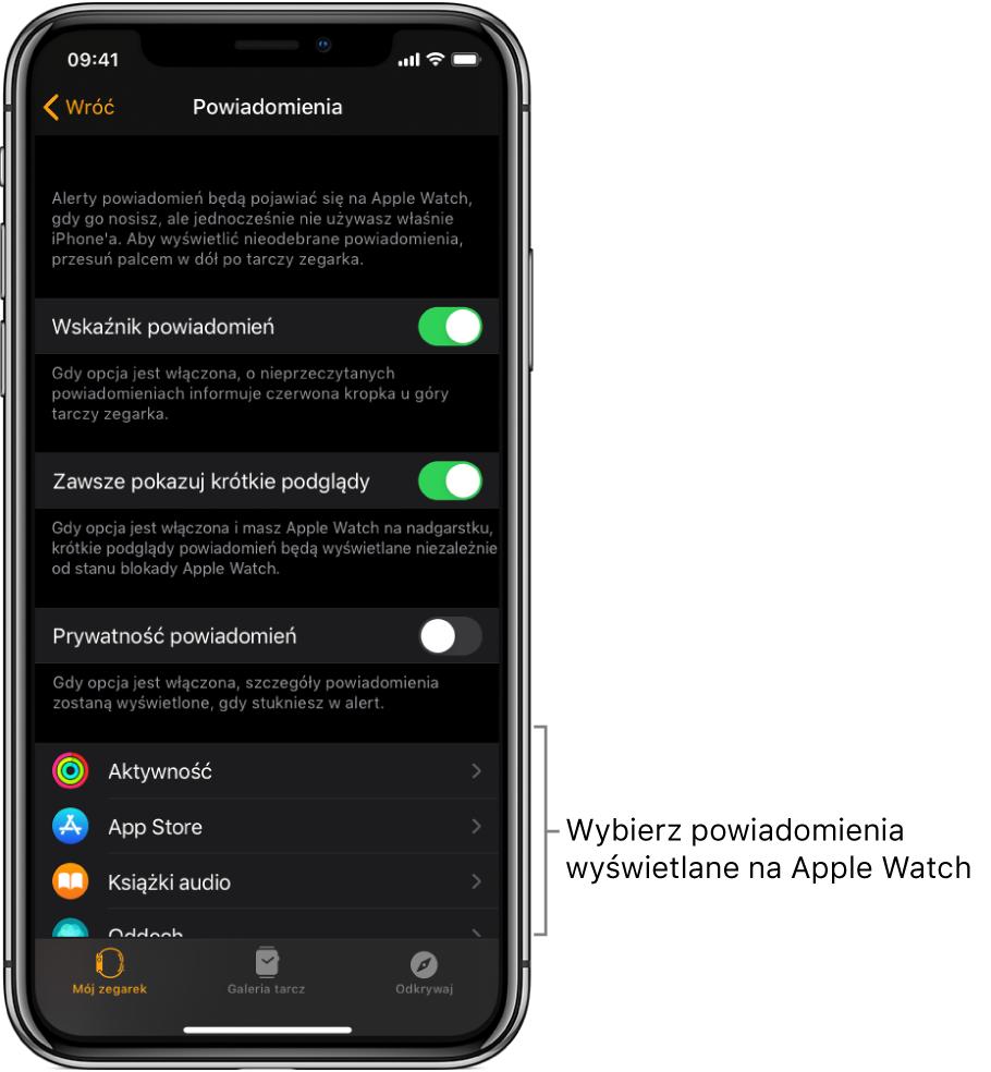 Ekran Powiadomienia waplikacji Watch na iPhonie, wyświetlający źródła powiadomień.