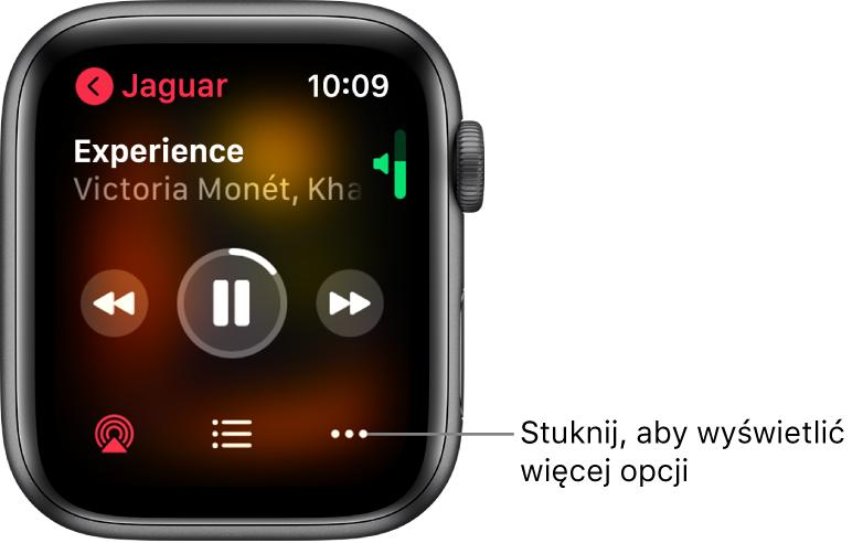 Ekran Odtwarzane waplikacji Muzyka. Nazwa albumu znajduje się wlewym górnym rogu. Na górze wyświetlany jest tytuł iwykonawca utworu, na środku narzędzia odtwarzania, ana dole— przycisk AirPlay, lista ścieżek oraz przyciski opcji.