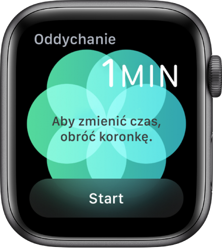 Ekran aplikacji Oddech. Wprawym górnym rogu widoczny jest czas trwania, równy jedną minutę. Na dole znajduje się przycisk Start.