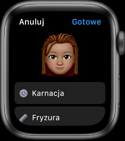 Aplikacja Memoji na AppleWatch, wyświetlająca twarz wgórnej części ekranu oraz opcje dotyczące karnacji ifryzury poniżej.