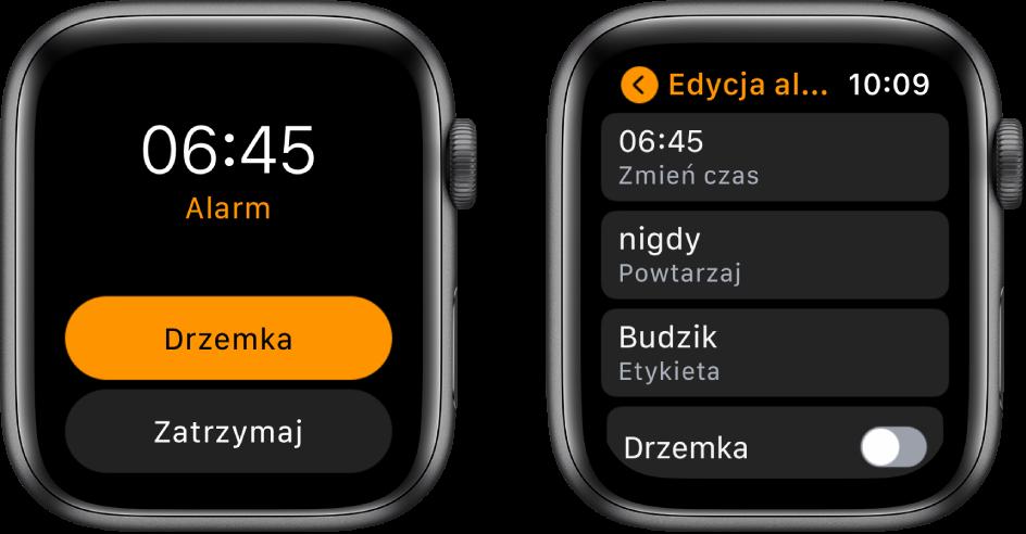 Dwa ekrany zegarka: Jeden znich przedstawia tarczę zprzyciskami Drzemka oraz Stop, adrugi przedstawia ustawienia edycji alarmu zwidocznymi poniżej przyciskami Zmień czas, Powtarzaj oraz Alarm. Na dole widoczny jest przełącznik Drzemka. Przełącznik Drzemka jest wyłączony.