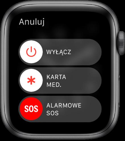 Ekran AppleWatch ztrzema suwakami: Wyłącz, Karta medyczna oraz AlarmoweSOS.