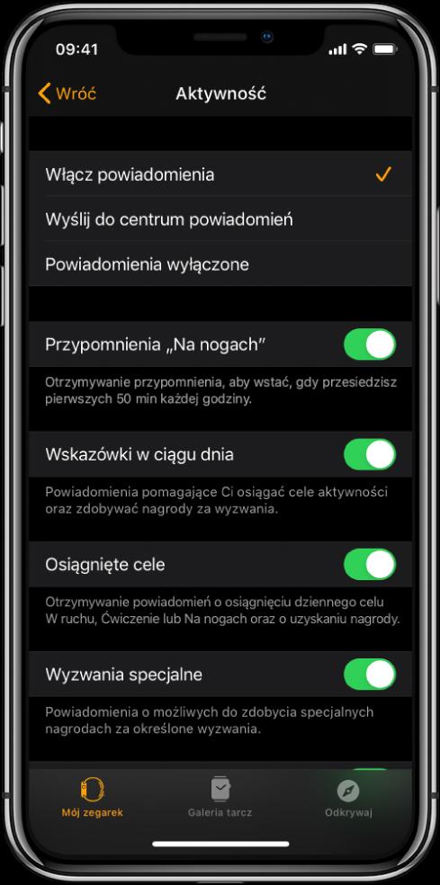 Ekran Aktywność waplikacji Watch, na którym możesz konfigurować powiadomienia, jakie chcesz otrzymywać.