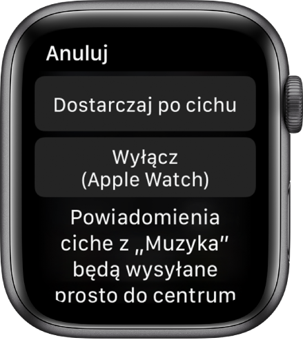 Ustawienia powiadomień na AppleWatch. Na górnym przycisku widoczna jest etykieta Dostarczaj po cichu. Poniżej znajduje się przycisk zetykietą Wyłącz (AppleWatch).