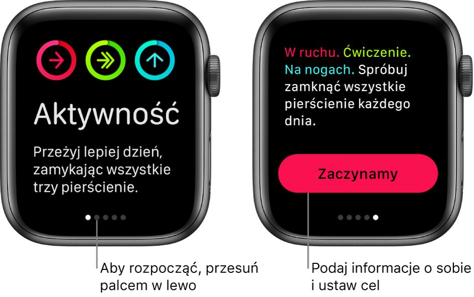 Dwa ekrany: Jeden przedstawia ekran powitalny aplikacji Aktywność, adrugi pokazuje przycisk Zaczynamy.
