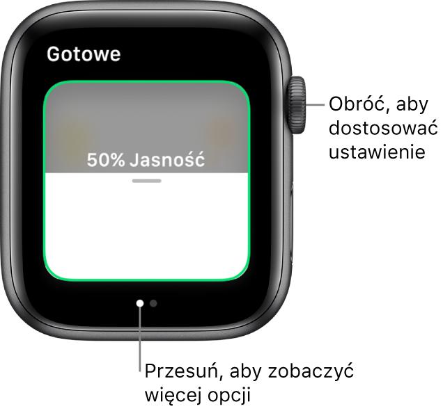 Ekran aplikacji Dom pokazujący ustawienia dotyczące jasności żarówki.
