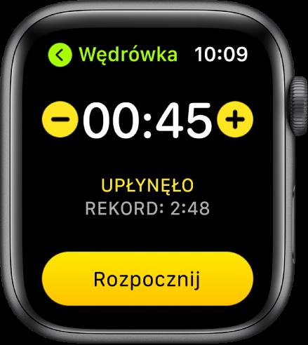 Ekran celu, wyświetlający czas na górze, przyciski plus iminus po bokach oraz przycisk Start na dole.