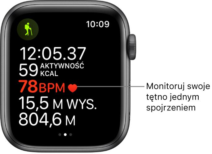 Ekran wyświetlający statystyki treningu, obejmujące czas jego trwania itętno.