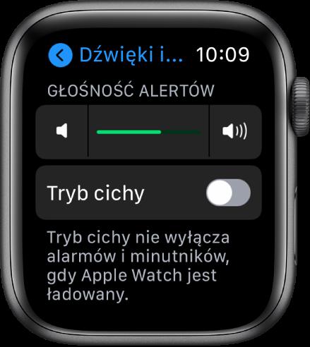Ustawienia dźwięków ihaptyki AppleWatch. Na górze znajduje się suwak Głośność alertów, apod nim przycisk Tryb cichy.