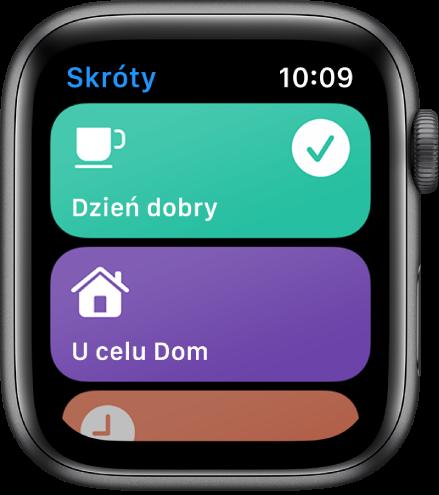 Aplikacja Skróty na AppleWatch, wyświetlająca dwa skróty, Dzień dobry oraz Szacowany czas powrotu do domu.