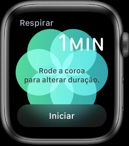 O ecrã da aplicação Respiração a mostrar a duração de um minuto na parte superior direita e o botão Iniciar na parte inferior.