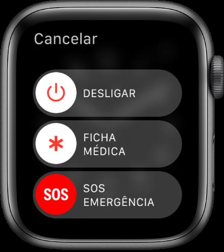 O ecrã do AppleWatch a mostrar três interruptores: Desligar, Ficha médica e SOS emergência.