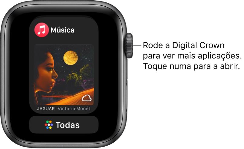 """A Dock a mostrar a aplicação Música com um botão """"Todas as aplicações"""" por baixo. Rode a Digital Crown para ver mais aplicações. Toque numa para a abrir."""