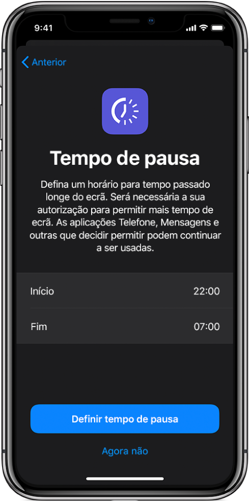 """iPhone a mostrar o ecrã de configuração de Tempo de pausa. Escolha a hora de início e de fim no centro do ecrã. Os botões """"Definir tempo de pausa"""" e """"Agora não"""" encontram-se na parte inferior do ecrã."""