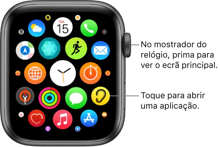 Ecrã principal na vista em grelha no AppleWatch, com as aplicações aglomeradas. Toque numa aplicação para a abrir. Arraste para ver mais aplicações.