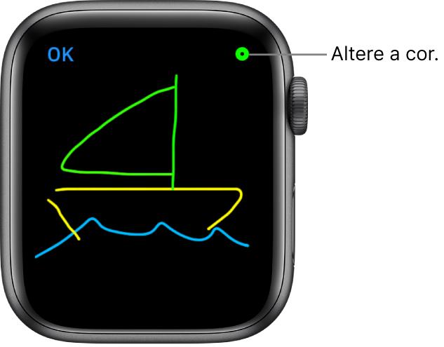 A tela de desenho com um desenho ao centro e o seletor de cores no canto superior direito.