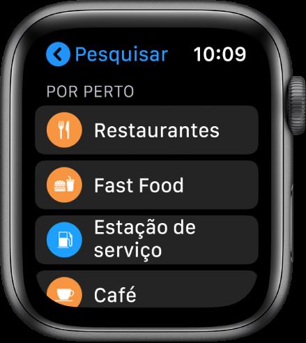 A aplicação Mapas a mostrar uma lista de categorias: Restaurantes, Fast Food, Estações de serviço, Café, e muito mais.
