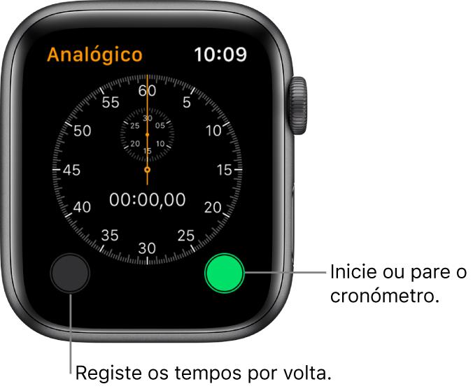 Ecrã do cronómetro analógico. Toque no botão da direita para iniciar e parar e toque no botão da esquerda para registar os tempos por volta.