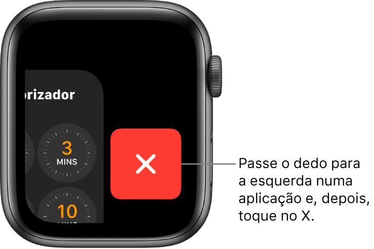 A Dock após passar o dedo para a esquerda na aplicação com o botão X do lado direito.