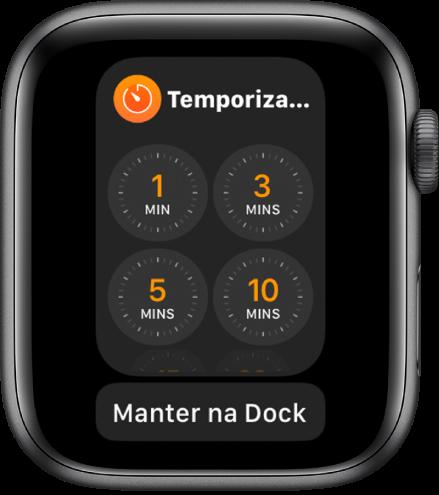 """Ecrã da aplicação Temporizador na Dock, com o botão """"Manter na Dock"""" por baixo."""