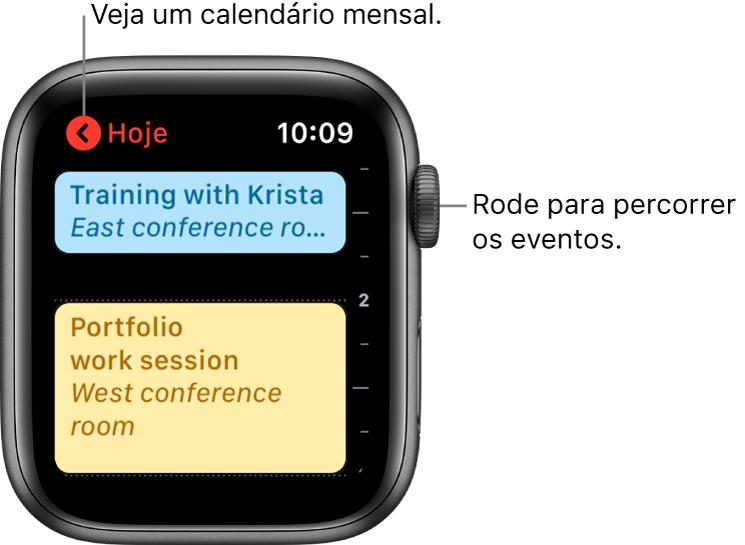 Ecrã do Calendário a mostrar uma lista dos eventos do dia.