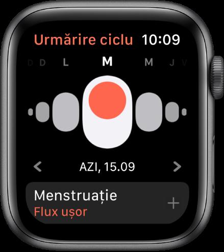 Ecranul Urmărire ciclu, afișând zilele săptămânii sus, data curentă dedesubt și butonul Menstruație în partea de jos.