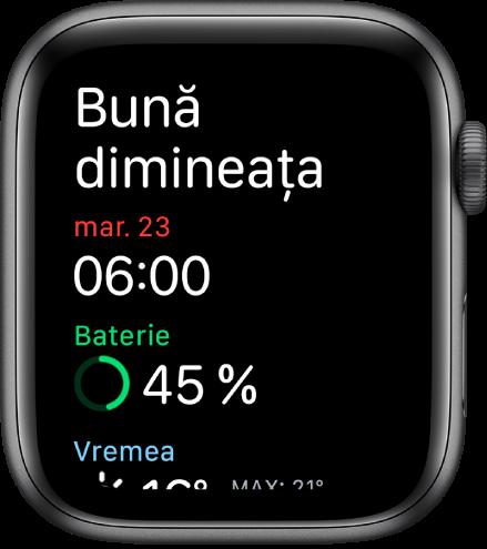 """AppleWatch afișând ecranul de trezire. Cuvintele """"Bună dimineața"""" apar în partea de sus. Data, ora, încărcarea bateriei și vremea apar dedesubt."""