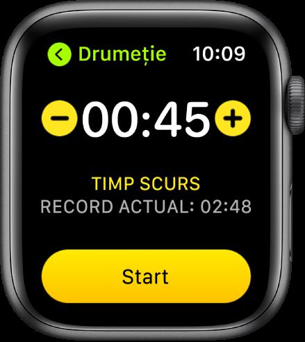 Ecranul obiectivului, prezentând timpul lângă partea de sus, cu butoanele – și + de o parte și de alta și butonul Începeți jos.