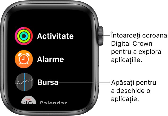 Ecranul principal în vizualizarea listă pe Apple Watch, cu aplicațiile sub formă de listă. Apăsați pe o aplicație pentru a o deschide. Derulați pentru a vedea mai multe aplicații.