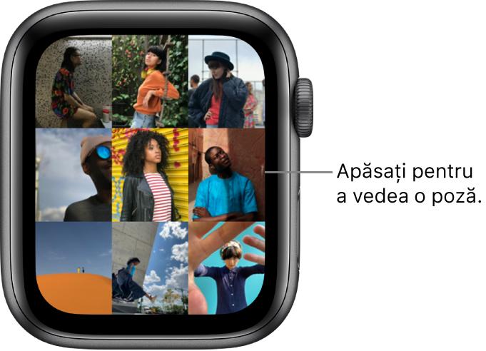 Ecranul principal al aplicației Poze pe AppleWatch, având câteva poze afișate sub formă de grilă.