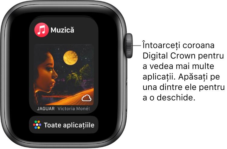 Dock-ul afișând aplicația Muzică cu butonul Toate aplicațiile dedesubt. Pentru a vedea mai multe aplicații, întoarceți coroana Digital Crown. Apăsați pe una dintre ele pentru a o deschide.