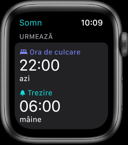 Aplicația Somn de pe AppleWatch prezentând programul de somn al serii. Ora de culcare este configurată la 22:00, iar ora de trezire, la 6:00.