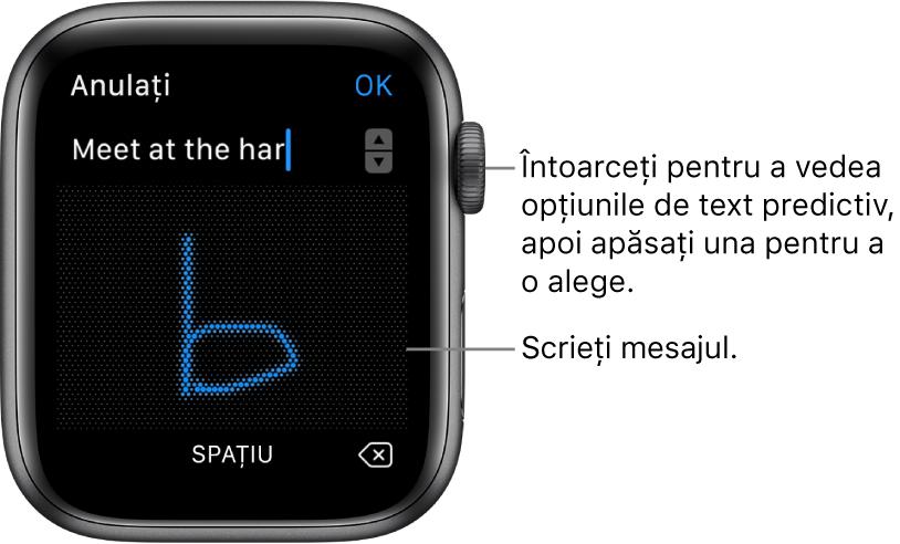 Ecranul unde scrieți de mână un mesaj de răspuns. Opțiunile de anticipare a textului apar în partea de sus, iar dvs. scrieți mesajul în centru.