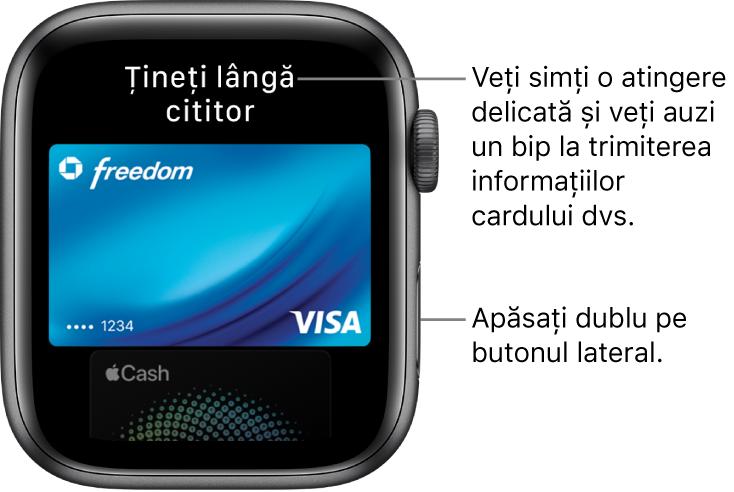 """Ecran Apple Pay cu mesajul """"Țineți lângă cititor"""" în partea de sus; simțiți o atingere ușoară și auziți un bip când sunt trimise informațiile despre card."""