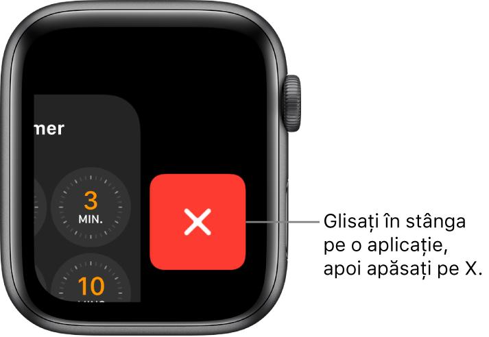 Dock-ul, după ce glisați la stânga pe o aplicație, cu butonul [X] în dreapta.