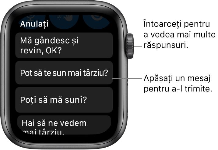 """Ecranul Mesaje prezentând sus butonul Anulați și trei răspunsuri prestabilite (""""Mă gândesc și revin, OK?"""", """"Pot să te sun mai târziu?"""" și """"Mă puteți suna?"""")."""