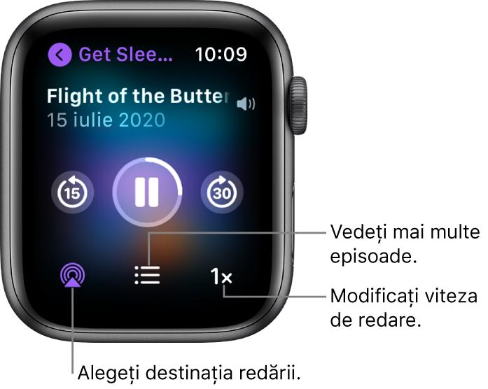 Un ecran Podcasturi În redare prezentând titlul emisiunii, titlul episodului, data, butonul Salt înapoi 15 secunde, butonul de suspendare, butonul Salt înainte 30 secunde, butonul AirPlay, butonul de episoade și butonul Viteză de redare.