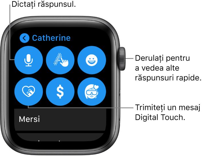 Ecranul de răspuns afișând butoanele Dictare, Scris de mână, Emoji, Digital Touch, Apple Pay și Memoji. Răspunsurile inteligente sunt dedesubt. Pentru a vedea alte răspunsuri inteligente, întoarceți coroana Digital Crown.